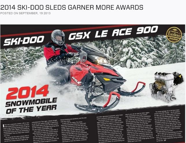 "SKI-DOO  900 ACE  получил звание ""Снегоход 2014 года!"""